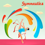 Гимнаст с лентой гимнастика звукомерная Стоковые Изображения RF