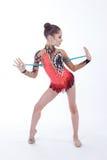 Гимнаст с жезлом Стоковая Фотография