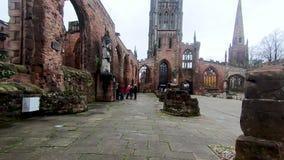 Гипер упущение вокруг руин старого собора Ковентри сток-видео