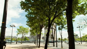 Гипер упущение Триумфальной Арки в Париже, Франции акции видеоматериалы