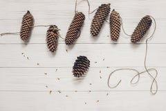 Гирлянда деревенского конуса сосны handmade на белой деревянной верхней части предпосылки Стоковые Изображения RF