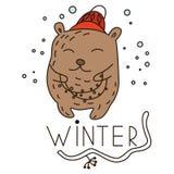 Гирлянда нося милого медведя doodle иллюстрация штока