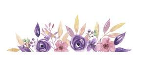 Гирлянда пинка цветочной композиции лета венка сирени рамки границы акварели фиолетовой покрашенная рукой Стоковые Изображения
