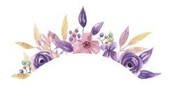 Гирлянда пинка цветочной композиции лета венка сирени рамки свода акварели фиолетовой угловой покрашенная рукой Стоковое фото RF