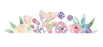 Гирлянда пинка цветочной композиции рамки лета венка границы акварели покрашенная рукой Стоковые Изображения RF