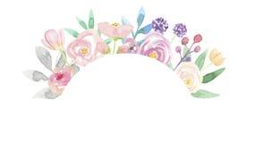 Гирлянда пинка цветочной композиции рамки лета венка свода акварели покрашенная рукой Стоковое Изображение RF