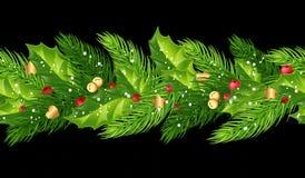 Гирлянда рождества безшовная с елью разветвляет, падуб, ягоды, b иллюстрация штока