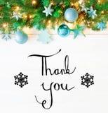 Гирлянда рождества, каллиграфия, спасибо Стоковое фото RF