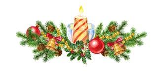Гирлянда рождества с свечой акварель Стоковые Фотографии RF