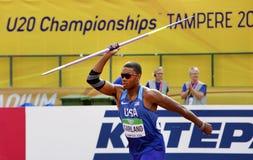 ГИРЛЯНДА США КАЙЛ на ходе javelin в десятиборье на чемпионате мира U20 IAAF в Тампере, Финляндии стоковое изображение rf