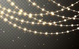 Гирлянда цвета Xmas, праздничные украшения Накаляя украшение влияния светов рождества прозрачное на темной предпосылке вектор иллюстрация штока