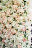 Гирлянда цветка на стене Плотная стена цветков Зона фото свадьбы Романтичное оформление космоса стоковые изображения