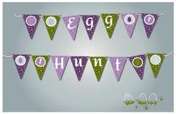 Гирлянды пасхи с флагами, яйцами, сердцами и зайчиками Дизайн иллюстрации типографский на весна и карты и приглашения пасхи бесплатная иллюстрация