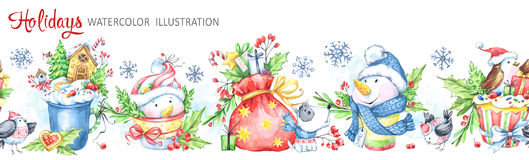 Гирлянда акварели безшовная горизонтальная Snowmens, птицы, чашка, сумка, ягоды, листья и подарки Новый Год Cretive весело иллюстрация штока