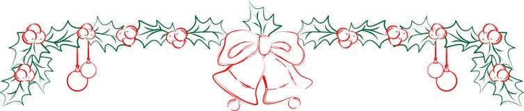 Гирлянда вектора рождества с падубом и колоколами Стоковые Изображения RF