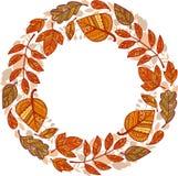 Гирлянда круга декоративных листьев осени Стоковые Фотографии RF