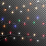 Гирлянда рождества накаляя иллюстрация вектора