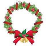 Гирлянда сосны рождества и красный венок сосны украшения смычка, иллюстрация вектора