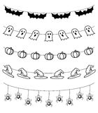 Гирлянда хеллоуина, комплект вектора Стоковое Фото
