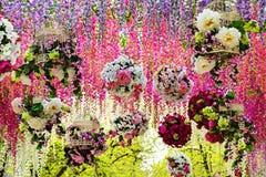 Гирлянды цветка пестротканых роз и глицинии Стоковое Фото