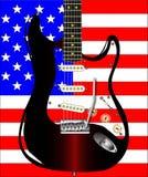 Гитара государственный флаг сша иллюстрация вектора