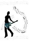 гитара девушки предпосылки Стоковое Изображение RF