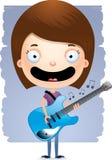 Гитара девушки шаржа предназначенная для подростков Стоковое Изображение RF