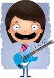 Гитара девушки шаржа предназначенная для подростков Стоковое Фото