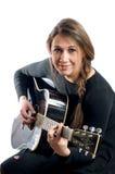 Гитара женщины черно-белая Стоковое Изображение