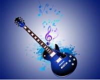 Гитара и примечание в векторе выплеска Стоковые Фото