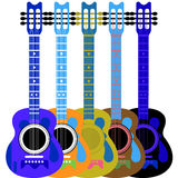 гитара и 5 цветов Стоковое Изображение