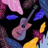 Гитара и яркие тропические листья с цветками на черной предпосылке Вектор doodles чертежа руки плоский иллюстрация вектора