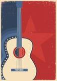 Гитара концерта для музыкального фестиваля плаката Стоковые Изображения RF