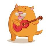 гитара кота играя красный цвет Иллюстрация вектора