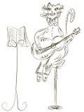 гитара кота играя эскиз Стоковое Изображение