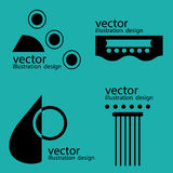 Гитара логотипов вектора на зеленом цвете Стоковые Изображения