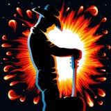гитара пламени Стоковая Фотография RF