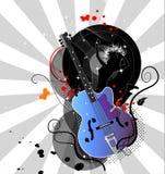 гитара предпосылки черная иллюстрация вектора