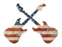 Гитара сформировала флаг США американца старого grunge винтажный Стоковое Изображение RF