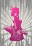гитара grunge девушки предпосылки Стоковая Фотография