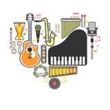 Гитара instrumets музыки, рояль или значки музыкального вектора барабанчика плоские иллюстрация штока