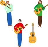 Гитаристы и гитара Стоковое Изображение