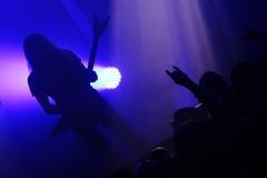 Гитарист во время концерта стоковые изображения