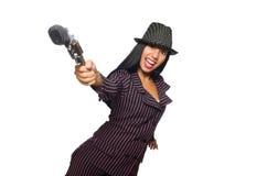 Гитарист женщины изолированный на белизне Стоковое фото RF