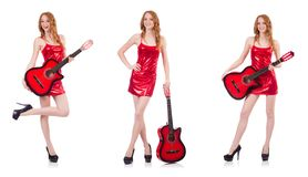 Гитарист изолированный на белизне Стоковые Фото