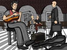 гитарист на общественном месте иллюстрация вектора