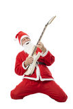 Гитарист Санта Клаус играя электрическую гитару Стоковая Фотография RF