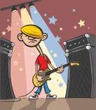 Гитарист утеса шаржа унылый иллюстрация вектора