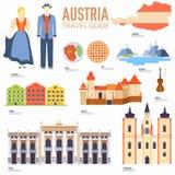 Гид каникул перемещения Австрии страны товаров, мест и характеристик Комплект архитектуры, люди, культура, значки Стоковое фото RF