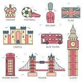 Гид каникул перемещения Англии страны товаров, мест в тонких линиях стиле конструирует Комплект архитектуры, люди, спорт Стоковое фото RF